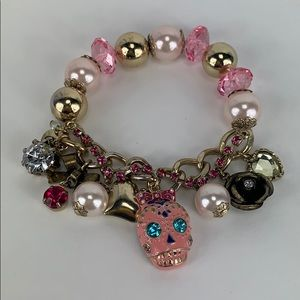 Betsey Johnson Pink Skull Stretch Bracelet
